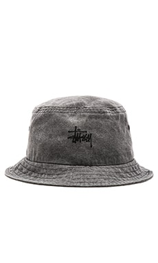 Stussy Smooth Stock Enzyme Wash Bucket Hat in Black