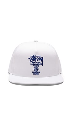 Stussy World Tour SU16 Snapback in White