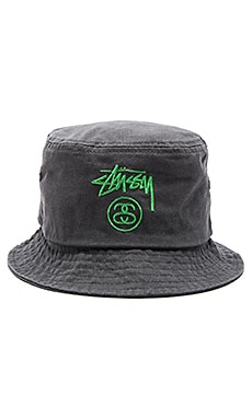 Stussy Stock Lock Pigment Dye Bucket Hat in Black