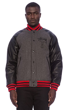 Stussy World Tour Wool Jacket in Charcoal Heather