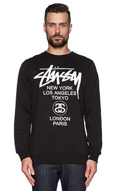 Stussy World Tour Crew In Black