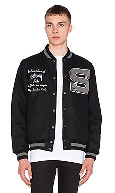 Stussy Big S Letterman Jacket in Black