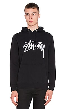 Stussy Stock Embroidered Hoodie in Black
