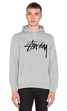 Stussy Stock Embroidered Hoodie in Grey Heather