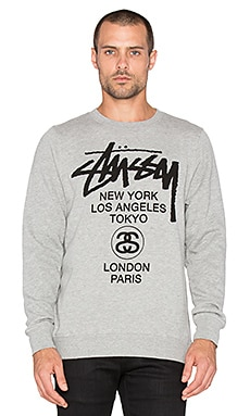 Stussy World Tour Sweatshirt in Grey Heather