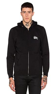 Stussy Basic Logo Zip Hoodie in Black
