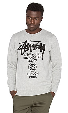 Stussy World Tour Crew in Grey Heather