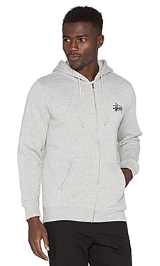 Stussy Basic Logo Zip Hood in Grey Heather