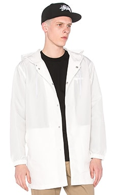 Stussy Long Hooded Coach Jacket in White