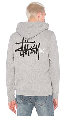 Stussy Basic Logo Hoody in Grey Heather