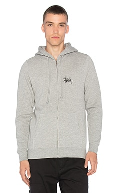 Stussy Basic Logo Zip Hoody in Grey Heather