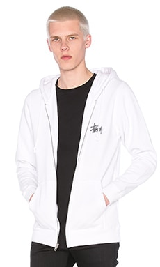 Stussy Basic Logo Zip Hoody in White
