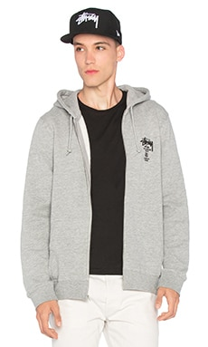 Stussy World Tour Zip Hoody in Grey Heather