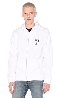 Stussy World Tour Zip Hoody in White