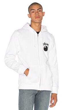 Stussy 8 Ball Zip Hoody in White
