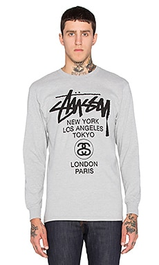 Stussy World Tour L/S Tee in Grey Heather