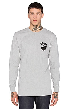 Stussy 8 Ball L/S Tee in Grey Heather