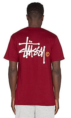 Stussy Basic Logo Tee in Dark Red