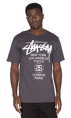 Stussy World Tour Tee in Charcoal