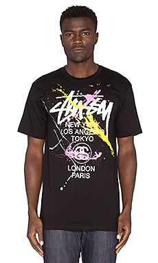 Stussy WT Paint Tee in Black