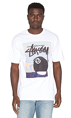 Stussy 8 Ball Glitch Tee in White
