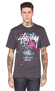 Stussy WT Paint Tee in Charcoal