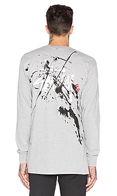 Stussy Basic Logo Paint L/S Tee in Grey Heather