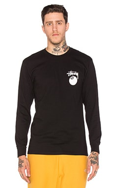 Stussy 8 Ball L/S Tee in Black