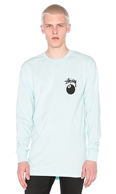 Stussy 8 Ball L/S Tee in Lt Blue