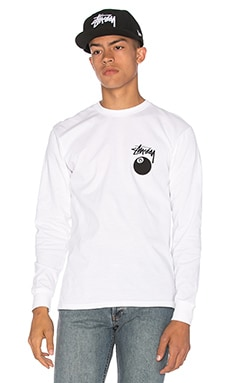 Stussy 8 Ball L/S Tee in White
