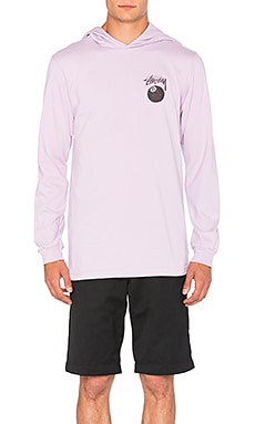 Stussy 8 Ball Stamp L/S Hood Tee in Light Purple