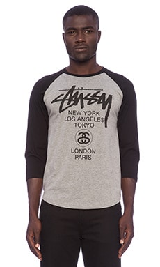 Stussy World Tour Raglan in Grey Heather/Black