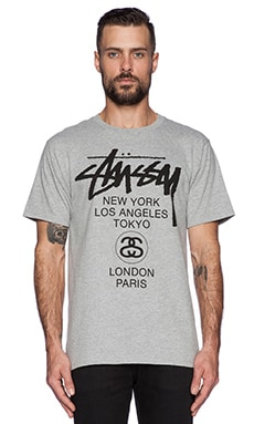 Stussy World Tour Tee in Heather Grey