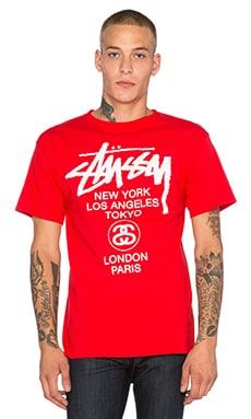 Stussy World Tour Tee in Red