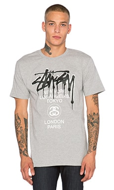 Stussy WT Drip Tee in Grey Heather