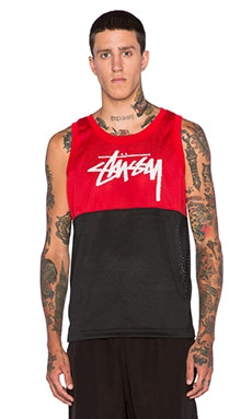 Stussy 2 Tone Mesh Tank in Red