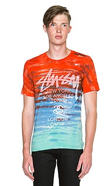 Stussy TD World Tour Tee in Red Aqua