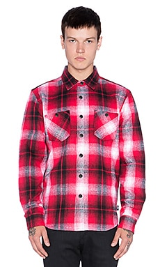 Stussy Heavy Brushed Flannel Button Up in Red