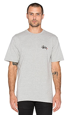 Stussy Basic Logo Tee in Grey Heather