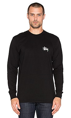 Stussy Basic Logo Long Sleeve Tee in Black