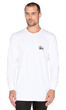 Stussy Basic Logo Long Sleeve Tee in White
