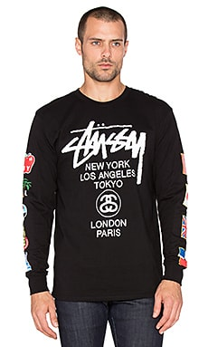 Stussy WT Flags Long Sleeve Tee in Black