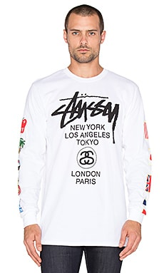 Stussy WT Flags Long Sleeve Tee in White