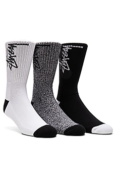 Stussy 3-Pack Stock Socks in Black, Stock Socks in Black & White, Stock Socks in White