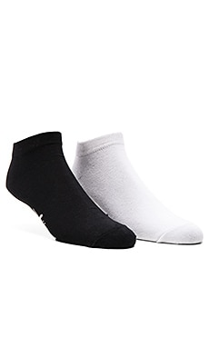 Stussy 2-Pack  No Show Socks in Black, No Show Socks in White