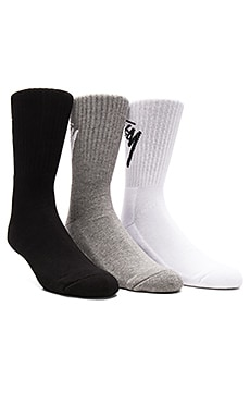 Stussy 3-Pack SU16 Slanted Socks in White & Black & Grey Heather