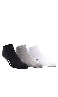 Stussy 3-Pack SU16 No Show Socks in Grey Heather & Black & White