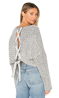 Hart Crop Sweater in White Charcoal Marle