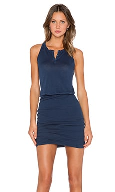 Stateside Crepe Ruched Mini Dress in Navy