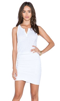 Stateside Crepe Ruched Mini Dress in White
